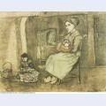 Mother at the cradle and child sitting on the floor 1881