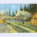 Orchard in blossom bordered by cypresses 1888