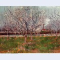 Orchard in blossom plum trees 1888