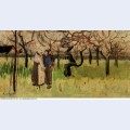 Orchard in blossom with two figures spring 1888