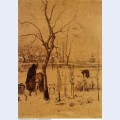 Parsonage garden in the snow with three figures 1885