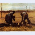 Peasant man and woman planting potatoes 1885 1