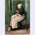 Scheveningen woman sewing 1882