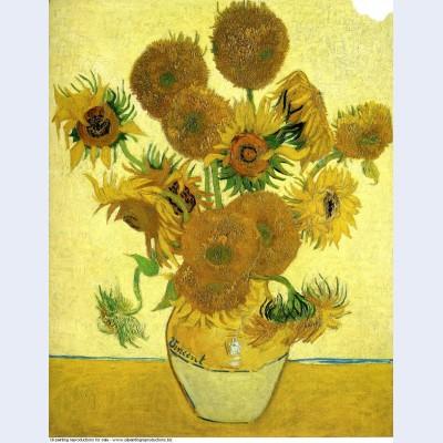 Still life vase with fifteen sunflowers 1888 1