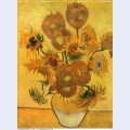Still life vase with fifteen sunflowers 1888