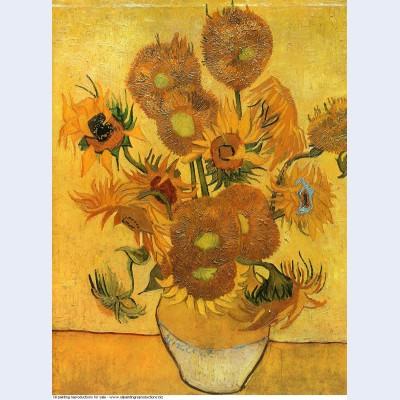 Still life vase with fifteen sunflowers 1888