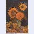 Still life vase with five sunflowers 1888