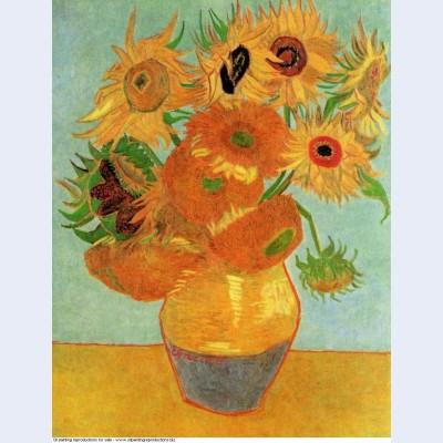 Still life vase with twelve sunflowers 1