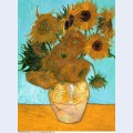 Still life vase with twelve sunflowers