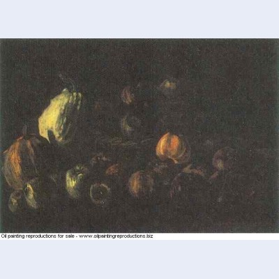 Still life with a basket of apples and two pumpkins 1885