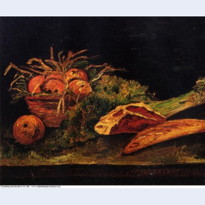 Still life with apples meat and a roll 1886