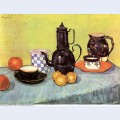 Still life with blue enamel coffeepot earthenware and fruit 1888