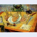 Still life with drawing board pipe onions and sealing wax 1889