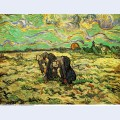 Two peasant women digging in field with snow 1890