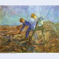 Two peasants diging after millet 1889