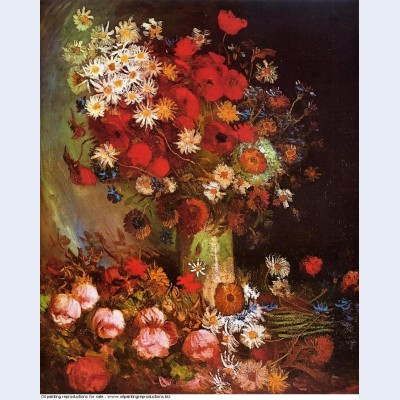 Vase with poppies cornflowers peonies and chrysanthemums 1886