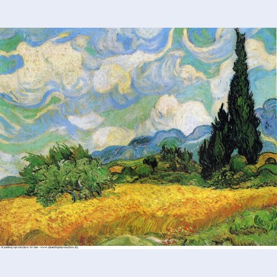 Wheat field with cypresses at the haude galline near eygalieres 1889 2