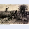 Wheatfield with reaper and peasant woman binding sheaves 1885