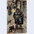 Woman walking her dog 1886