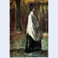 Woman with white shawl in a wood 1882