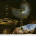 Still life with holbein bowl nautilus cup glass goblet and fruit dish detail 1678