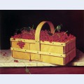 A wooden basket of catawba grapes