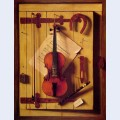 Still life violin and music