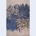 Design for tulip and willow indigo discharge wood block printed fabric