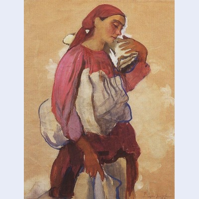 A peasant woman with rolls of canvas on her shoulder and in her hands