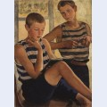 Boys in sailor s striped vests