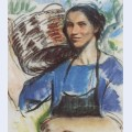 Cassis a peasant woman with basket