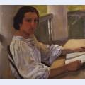 Portrait of e solntseva sister of artist
