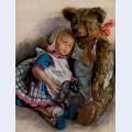 The popoffs doll teddy bear and toy elephant