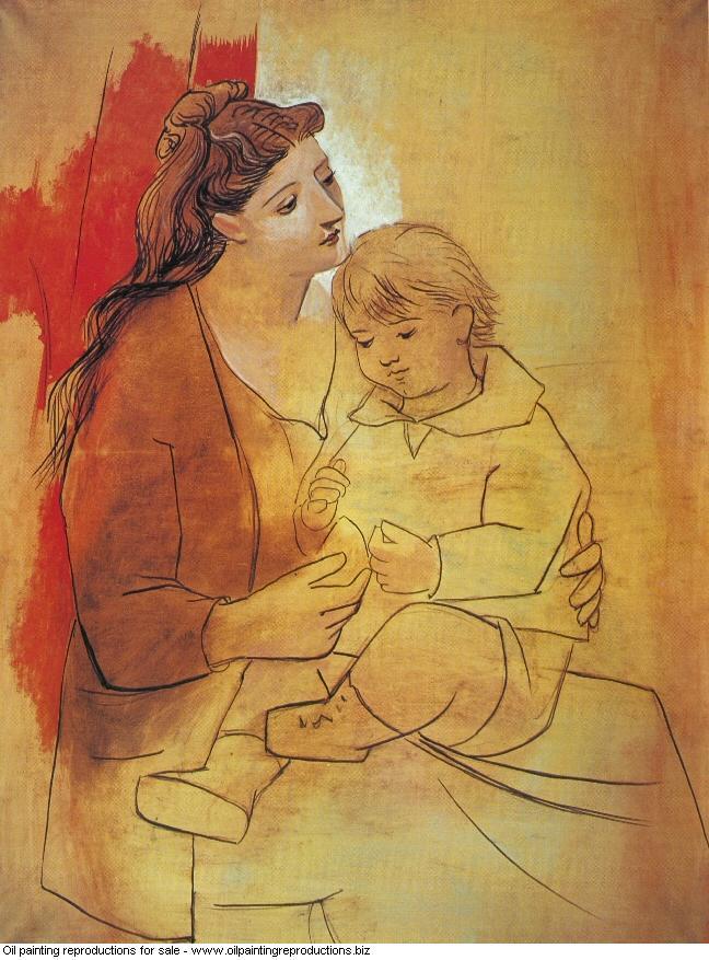 Maternite au rideau rouge 1922 - Pablo Picasso [French] - Oil ...