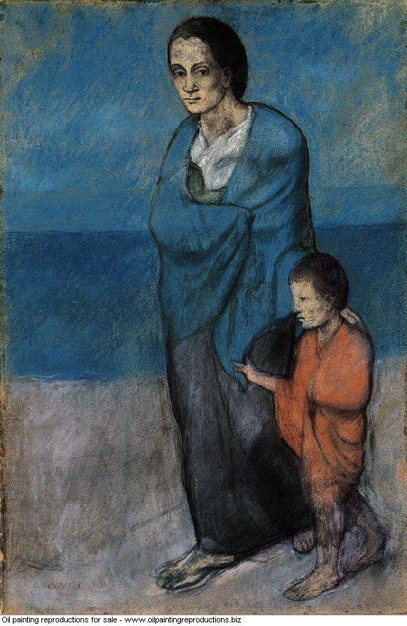 Mere et enfant au bord de la mer 1903 - Pablo Picasso [French] - Oil ...