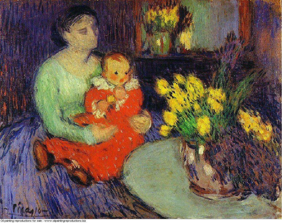 Mere et enfant devant un vase de fleurs 1901 - Pablo Picasso [French ...