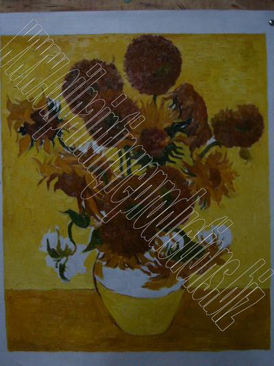 The sunflowers - oil painting reproduction step 1